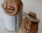 The Odd Couple:  Handmade Vintage Pottery Duo