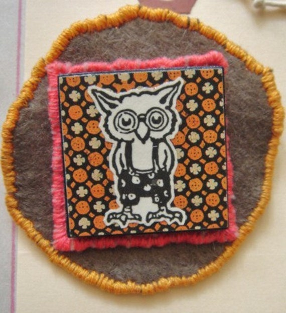 happy owl with overalls, embroidered wool felt badge with vintage clip art