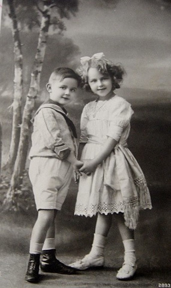 vintage sweethearts, little boy and girl holding hands, lovely sepia postcard
