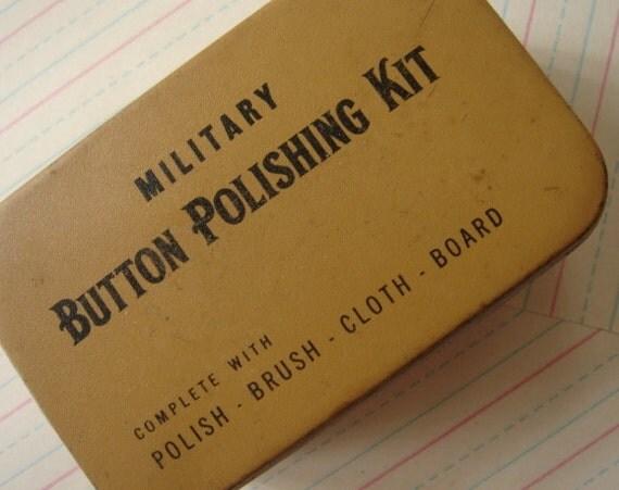 vintage tin, button polishing kit