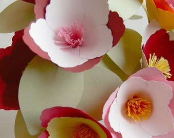 Custom Color Miniature Magnolias - set of 9 paper flowers