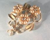 Vintage Coro Faux Pearl and  Rhinestone Flower Brooch