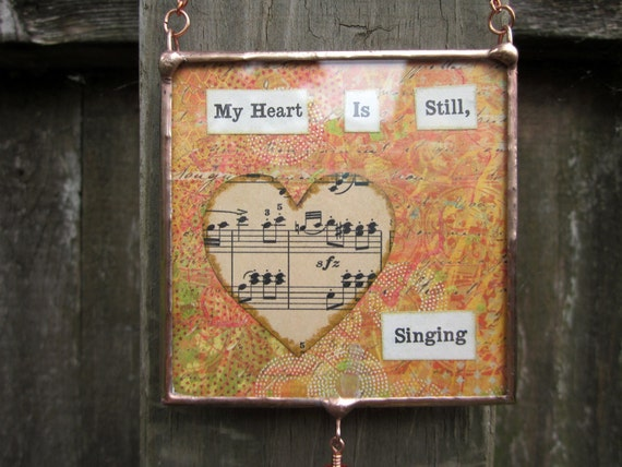 SALE...Soldered Glass Collage Wall Hanging