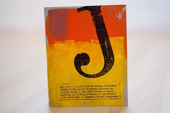 j is for joy, small blank hand sewn journal