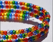 Rainbow Memory Wire Coil Bracelet Repeating Pattern
