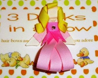 Inspired by Sleeping Beauty Ribbon Sculpture, Sleeping Beauty Hair Clip, Sleeping Beauty Hair Bow, Princess Bow, Princess Clip, FREE SHIP