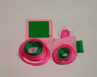 Tractor Ribbon Sculpture, Tractor Clip, Tractor Party, Farm Party Farm Hair Bow, Tractor Hair Bow, Pink Tractor, Birthday Party Bow FREESHIP