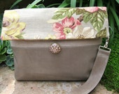 Vintage look Floral linen and leather clutch - wristlet