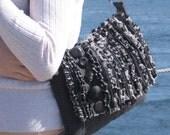 Shoulder Bag - The Shag Bag- Gray Frayed Ruffles