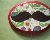 RESERVED for KERRYOGARA...THANKS...the english mustache plaque\/ key hook, red