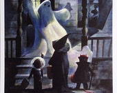 Mike Hoffman Spooky Halloween Trick or Treat Print THE GHOST HOUSE