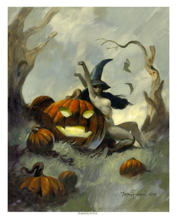 Mike Hoffman Spooky Halloween Trick or Treat Print PUMPKIN WITCH