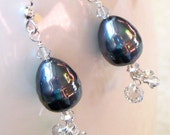 Reserved for Vadersmommy Midnight Pearl Earrings