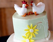 Hen and Rooster statues or cake topper CUSTOM ORDER