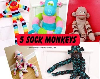 FIVE SOCK MONKEYS random lot