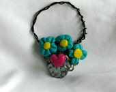 Hearts And Flowers Basket Bouquet Pendant