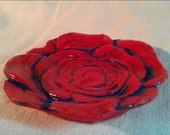 Ceramic Red and Blue Rose Bowl hand made CLEARANCE