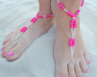 Barefoot sandals beachy foot jewelry foot thong anklet bridesmaid bridal  island jewelry anklet sandles