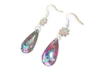 Swarovski elements crystal vitrail dangle earrings teardrop weddings bridesmaid  jewelry prom bridal mother of the bride