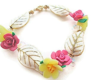 Polymer clay bracelet flowers with vermeil spacers cloisonne leaves pink yellow metallic gold christmas