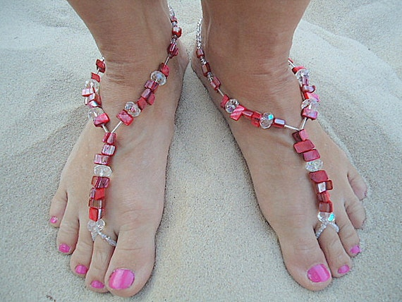 Barefoot sandals anklet foot jewelry foot thong beachy shell red crystal stretch summer tropical island jewellery