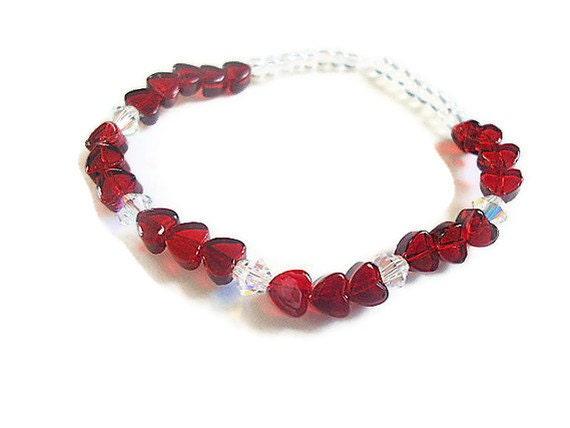 Little girls stretch bracelet red hearts and swarovski crystal elements toddler kids jewelry
