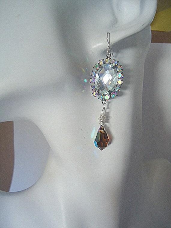 Victorian earrings  with sparkly swarovski elements teardrop and rhinestones prom dangle elegant jewellery