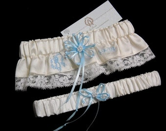 Garter Set personalized with your embroidered monogram and wedding date, jfyBride