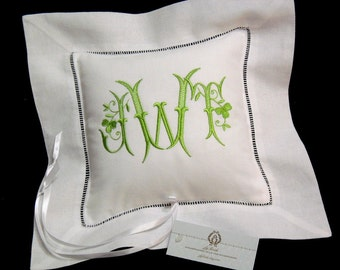 Ring Bearer Pillow, Irish Linen Ring Bearer Pillow , Monogrammed Wedding Pillow, Embroidered Shamrock Ring Cushion, Style 5208, jfyBride