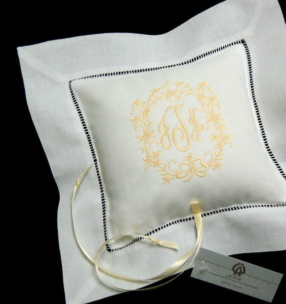 Irish Linen Monogrammed Ring Bearer Pillow, Style 5206