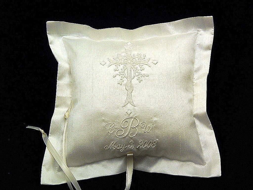 Silk ring bearer pillow embroidered with floral cross monogram