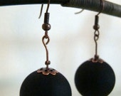 rubber ball -  rubber beads earrings in black color