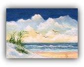 ACEO Original Art Card Beach Painting, Sand Dunes, Seagulls and Beach Grass 2.5 x 3.5 Inches, (Not a Print)