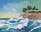 """Original Painting Seascape Art on Artist Canvas Panel, Ocean, """"Pacific Waves""""  (Not a Print), 5 x 7 Inches, MINI EASEL INCLUDED"""