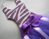 Zebra Glitter Tutu Hair Bow Holder - Hair Bow Holder - bow holder - barrette holder - purple and white bow holder -