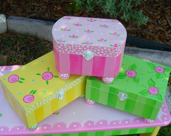 Hand Painted Jewelry Boxes-Painted wooden boxes-Treasure Box-Jewelry Storage