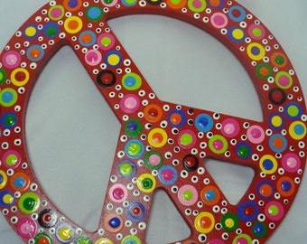Red Polka Dotted Funky Wooden Peace Sign