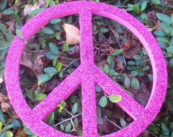 Hot Pink Glittered Peace Signs