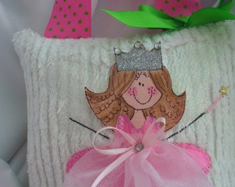 Girl Tooth Fairy Pillow Hand Painted By Bubbles and Company peronalized   Chenille  fairy