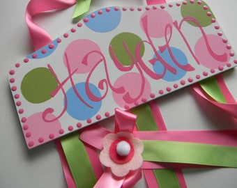 Personalized Bow holder - Bow holder - Hair bow holder-Custom Personalized Plaque Style