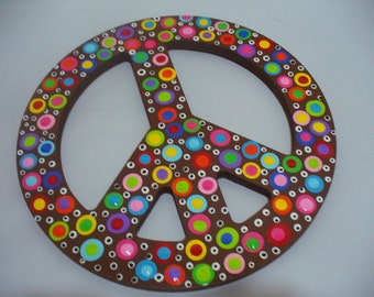 Hand Painted Wooden Polka Dotted Peace Sign- Brown