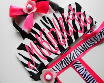 Bow Holder - Hair bow Holder - Hairbow holder - personalized Hair bow holder Plaque Style Hair Bow Holder-Zebra Black and White Personalized