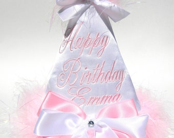 Boutique Style Birthday Party Hats-White Satin with Baby Pink