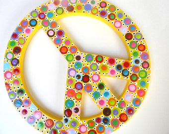 Hand Painted Wooden Polka Dotted Peace Sign-yellow