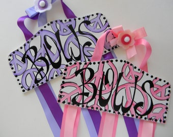 New Boutique Style Plaque Hair Bow Holder Peace Signs in Lavender