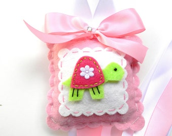 Sweet Felt Lime and Hot Pink Turtle Hair Bow Holder