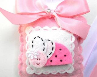 Sweet Felt Hot Pink LadyBug  Hair Bow Holder