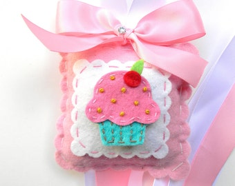 Sweet Felt Strawberry and Turquoise Cupcake Hair Bow Holder