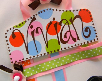 Personalized Bow holder - Plaque Style