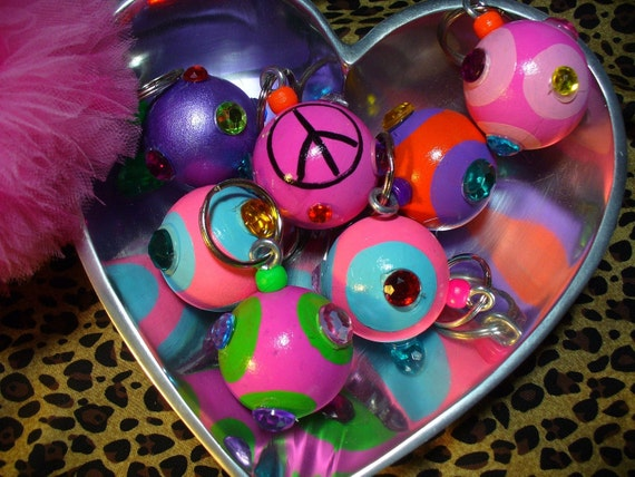 Hand Painted Wooden Ball Key Chains keychains, key fobs, key rings